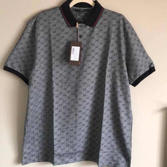 c3f74451c 💯Gucci GG Print Men s Polo Shirt  Size 2XL. NWT